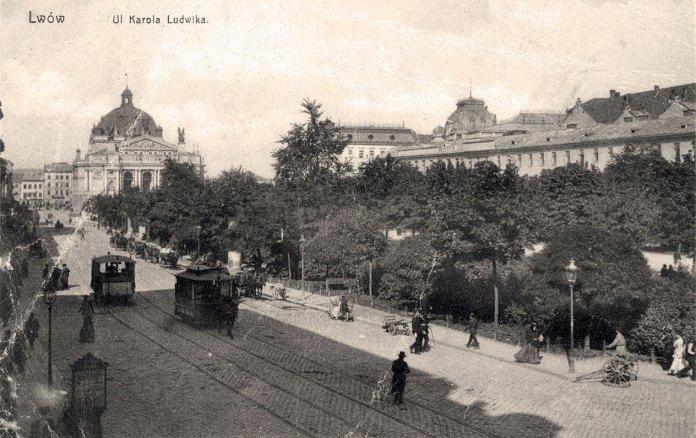 Кінний трамвай на сучасному проспекті Свободи. Стара листівка із колекції трамвайного депо №1