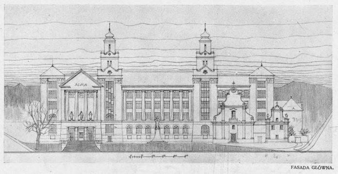 Проект нової будівлі львівського університету Ігнатія Кендзерського, 1913