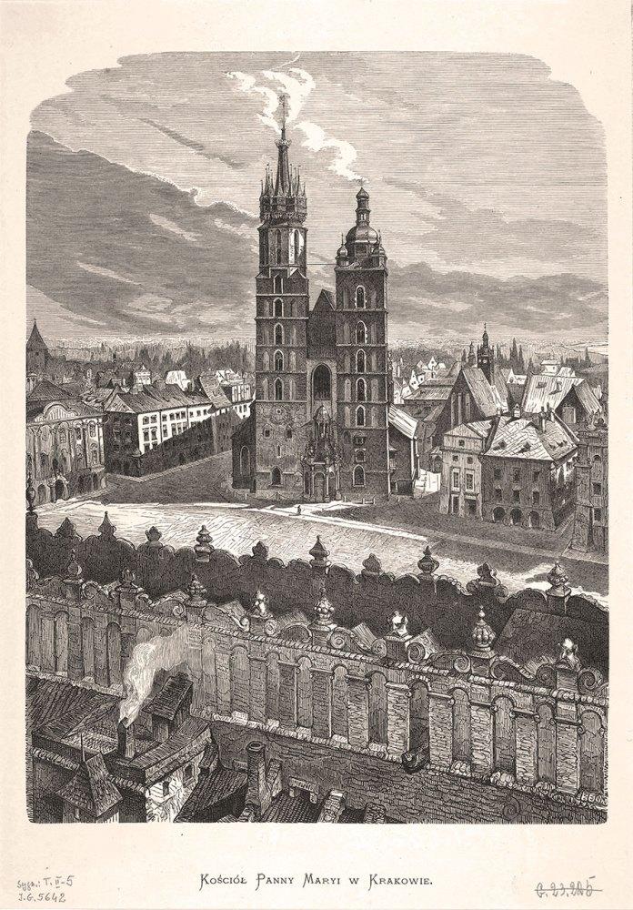 Краків. Вигляд на Марійський костел у центральній частині міста