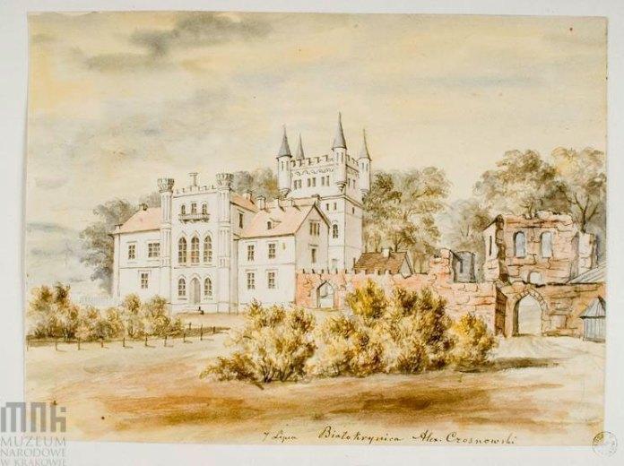 Палац у Білокриниці поряд із руїнами замку. Приблизно 1870-ті, автор Наполеон Орда