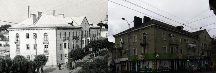 Будинок на розі Чорновола-Соборної. Ліворуч — 1950-і роки, праворуч — наші дні