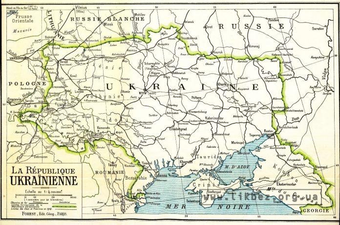 «La République Ukraїnienne» — мапа 1919 року для Паризької мирної конференції.