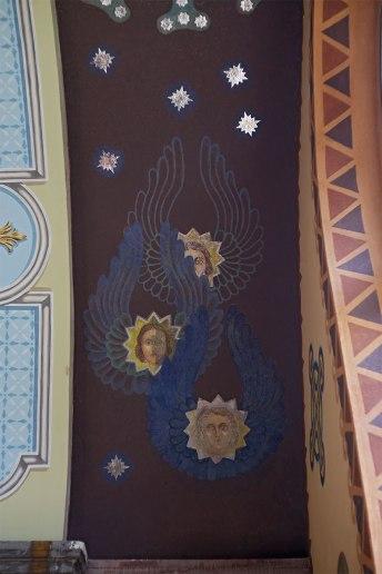 Церква Св.Вм. Дмитрія у селі Лука Золочівського району Львівської області. Фрагмент стінопису склепіння південної нави після реставрації.