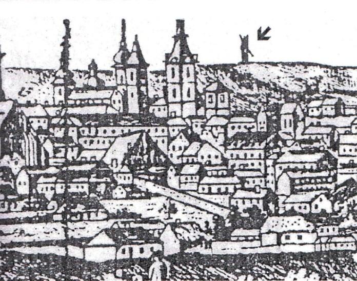 Вид Львова з кінця ХVІІІ ст. (фрагмент, стрілкою позначено