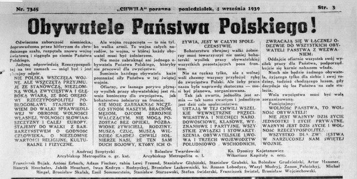 Звернення трьох галицьких владик — греко-католицького, латинського та вірменського обрядів — до громадян краю, підписане впливовими мешканцями краю: поляками, українцями та євреями і опубліковане 4-го вересня 1939 року в єврейській газеті «Chwila»