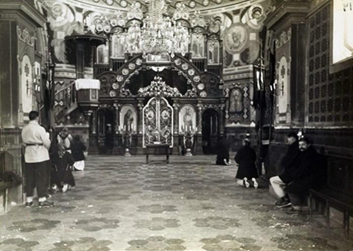 Інтер'єр церкви Успення Пресвятої Богородиці у Славському. Початок ХХ сторіччя
