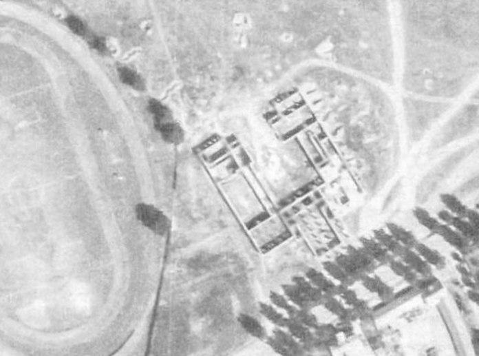 Недобудована школа (?) біля офіцерської колонії. Фрагмент аерофото 1944