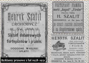 Рекламні оголошення приватної школи та магазину-складу роялів і фортепіано Генрика Шаліта в Дрогобичі