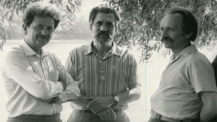 Дисиденти і колишні політв'язні радянського режиму (зліва направо) Михайло Горинь, Левко Лук'яненко, В'ячеслав Чорновіл, 1989 рік