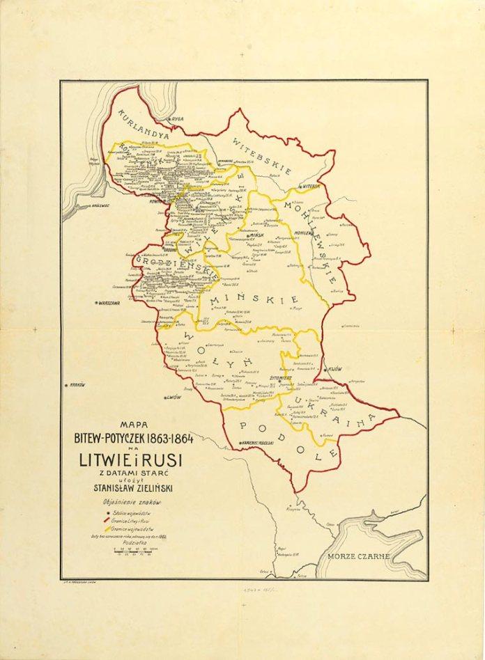 Карта бойових дій 1863-1864 між Литвою і Росією