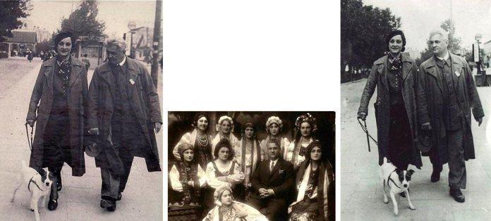 Микола та Антоніна Певні гуляють з песиком біля міського парку (тепер Театральний майдан), а також частина трупи Волинського українського театру (по центру)