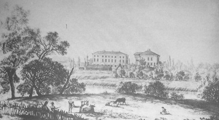 Акварель Алоїза Саара 1808 року. Палац видно збоку праворуч