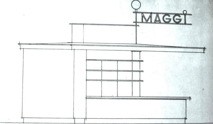 Бічна сторона кіоска Маггі (за основним проектом), 1935 р.