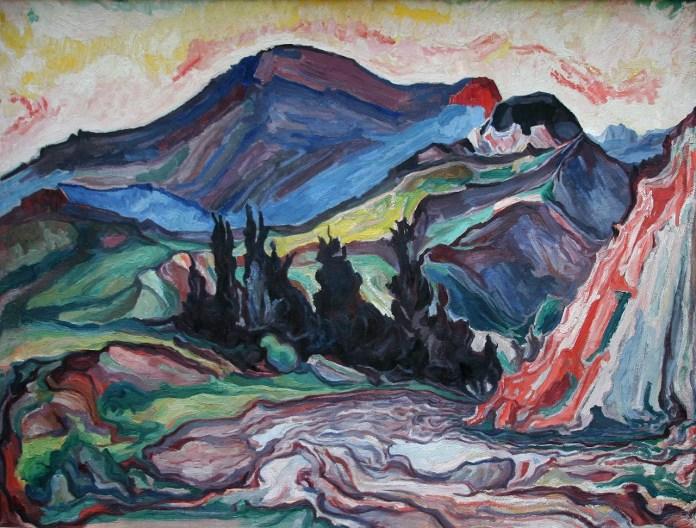 Новаківський О. Гора Грегіт. Фанера, олія. 1931 р.