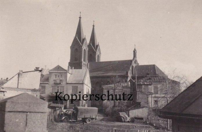 Вид на костел, місто періоду окупації