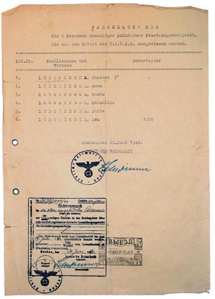 Дозвіл на виїзд близьким загиблих князів Адама і Губерта, завірений радянською і німецькою сторонами