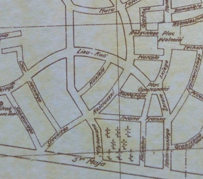 На плані Рівного 1938 року можна роздивитися, де знаходилася вулиця Ліса Кулі