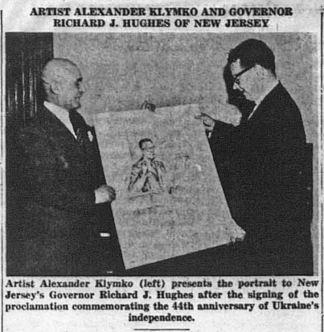 Олександр Климко презентує губернатору Нью Джерсі Р.Дж.Хюджесу його портрет