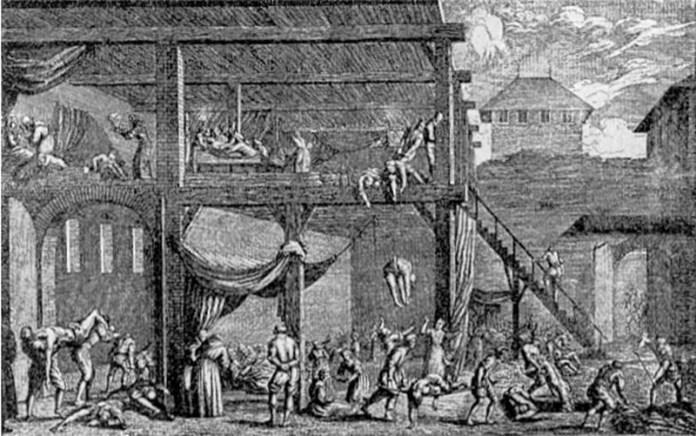 Монаті виносять трупи під час чумної моровиці у Відні (1679 рік). Монаті (від італ. monatto) — гробар, що виконував санітарні функції в середньовічній Італії.