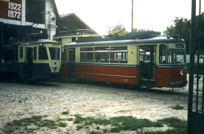 Трамвайний вагон «Gotha Т2-62» на території вагонно-ремонтних майстерень. 1972 р.