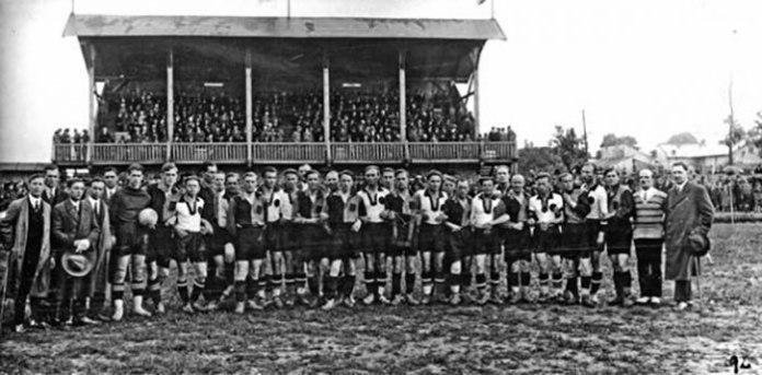 Світлина з товариської зустрічі СТ «Україна» з СК «Русь» Ужгород у травні 1927 р.