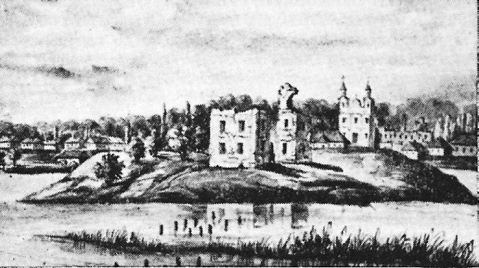 Руїни Козинського замку і костел у Козині – з малюнка ХІХ ст