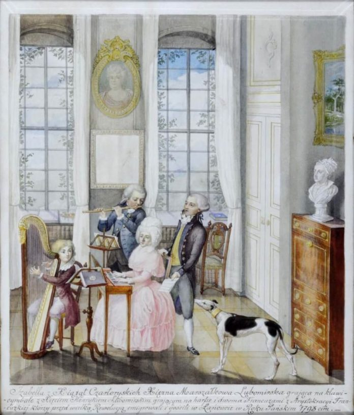 Крістіан Готліб Гейсслер. Домашній концерт, де Анрі Любомирський за арфою, княгиня Ізабелла за клавесином, 1791 рік
