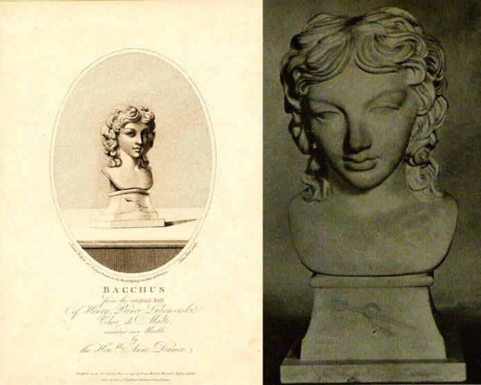 """Ліворуч: Роберт Джейм ІІ, бюст- портрет Генрика Любомирського; праворуч: Сеймур Дамер """"Погруддя Генрика Любомирського в образі Бахуса"""", 1787 рік"""