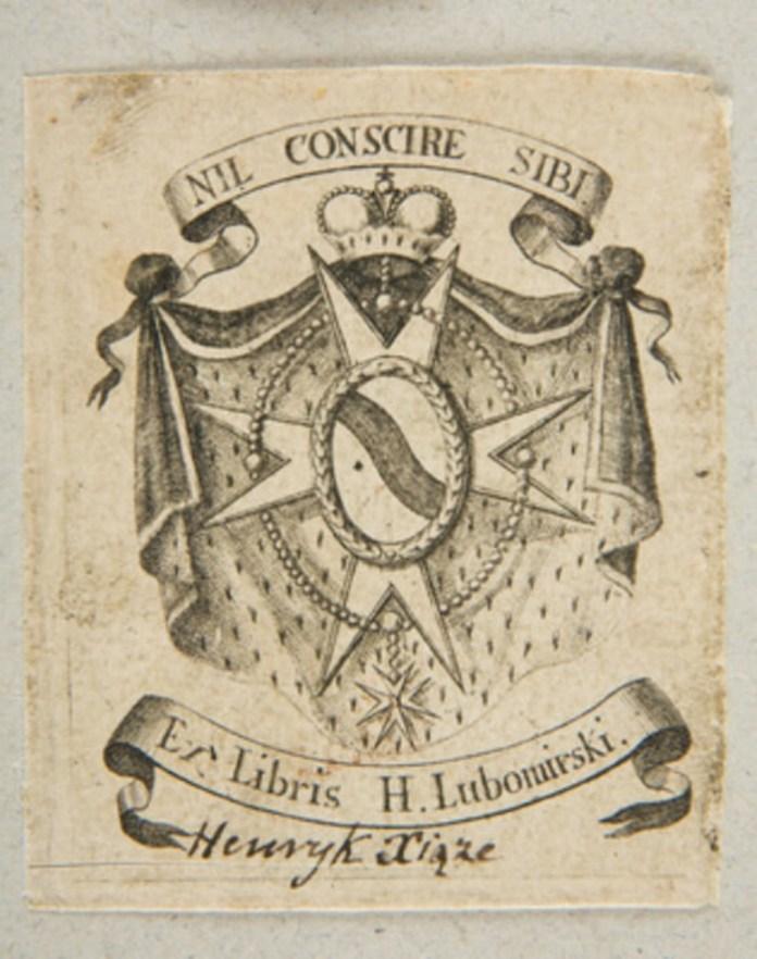 Екслібрис Генрика Любомирського 1810-1820 років. Національний музей, Краків