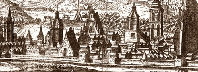 Високий мур з вежами на фрагменті панорами Гогенберга 1608 року