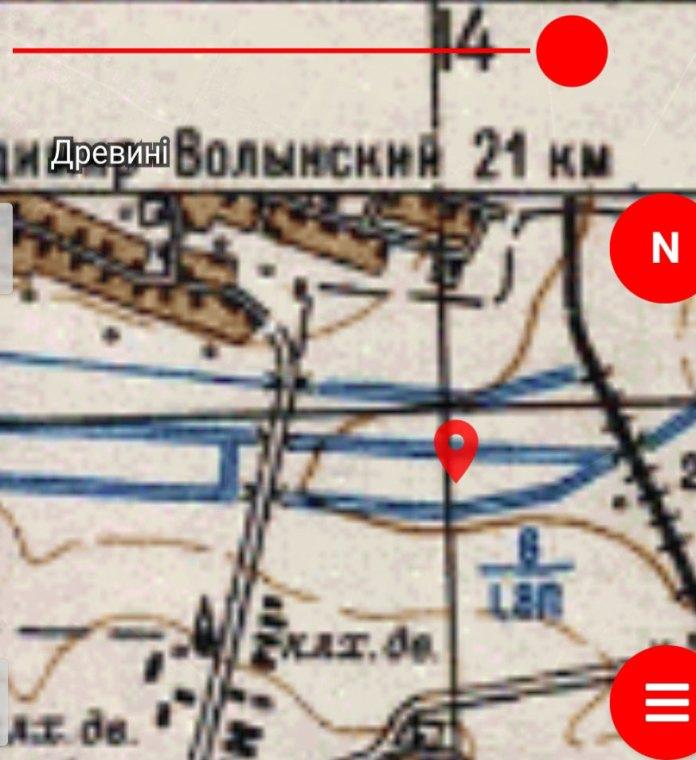 Місце падіння літака на карті Генштабу 1977 року