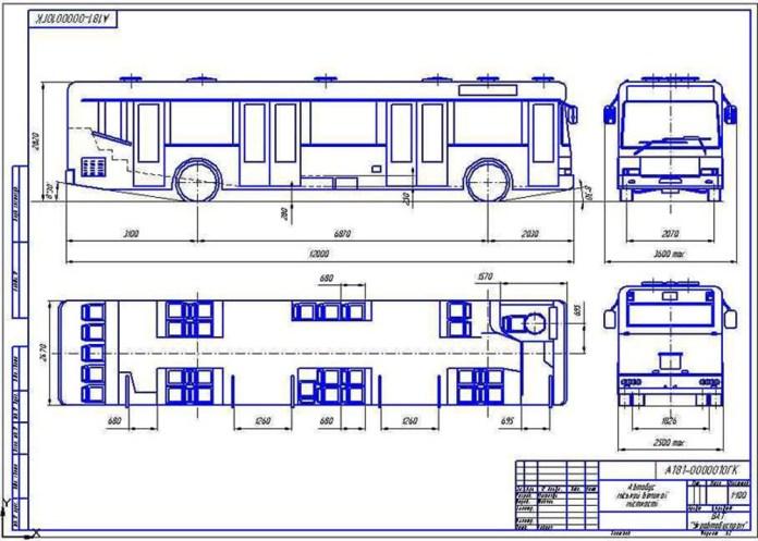 Габаритне креслення автобуса «Тур А181», розробленого НДІ «Укравтобуспром»