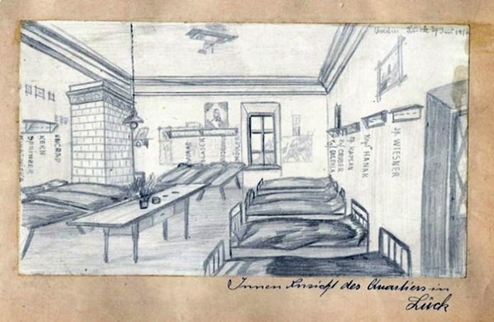 Внутрішній вигляд казарми для нижчих чинів у Луцьку. Малюнок австрійського художника Ернста Унграда, 1916 рік. Оскільки будували казарми за типовим проєктом, то можна припустити, що й рівненські виглядали приблизно так