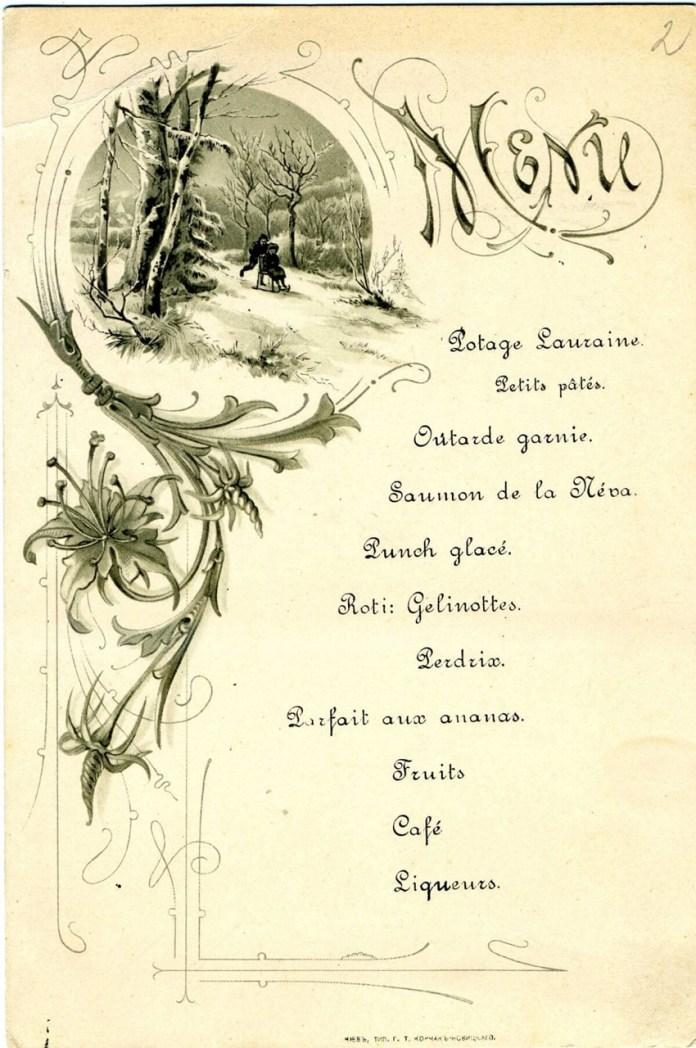 З особистого архіву барона Штейнгеля. Меню дому Штейнгелів, кінець ХІХ-початок ХХ століття