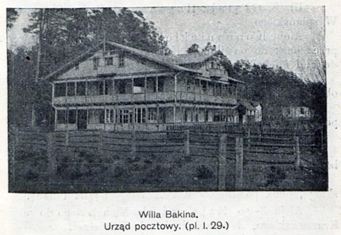 Поштове відділення у віллі Бакіна біля залізничної станції, ілюстрація із Uzdrowisko leśne Brzuchowice koło Lwowa z planem sytuacyjnym, 1914 рік.