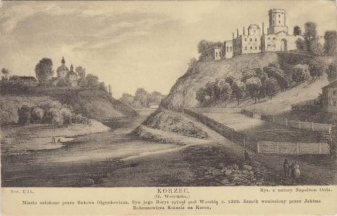 Руїни замку в Корці. літографія з малюнку Орди