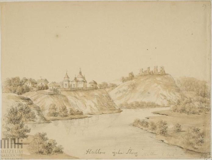 Губків, вид на замок з іншого ракурса, малюнок Орди