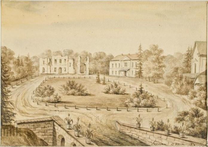 Шпанів (Рівненський район), палац Радзівіллів. Нині залишилася одна офіцина. Орда малював його якраз після пожежі в 1878 році