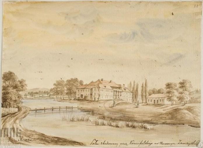 Наполеон Орда. Вид на палац Любомирських у Рівному. Малюнок датовано 1866 роком
