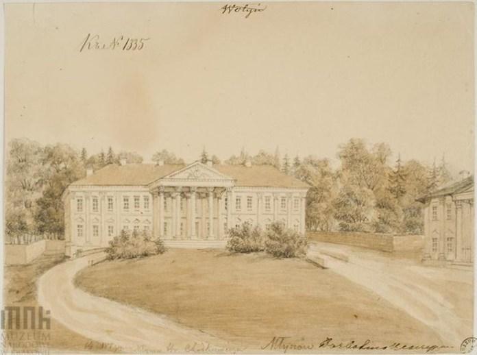 Ще один унікальний малюнок палацу в Млинові. Вид з двору. Праворуч видно фрагмент офіцини, яка збереглася донині. палац не зберігся