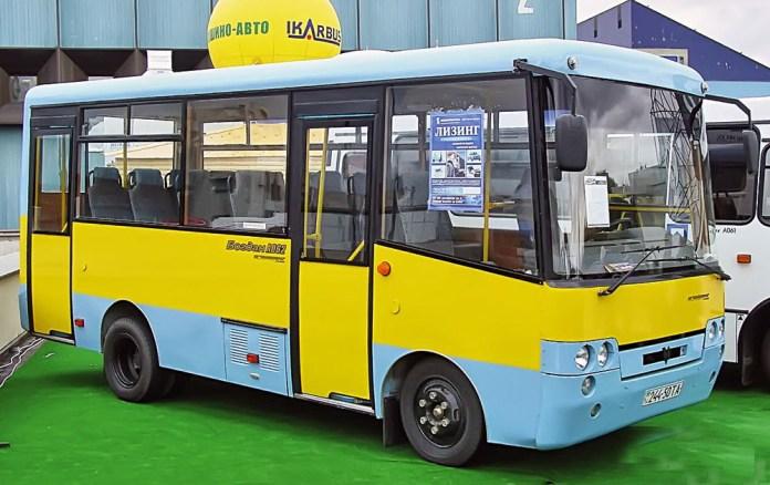 Прототип малого міського автобуса «Богдан» А062, створений НДІ «Укравтобуспром» під час автосалону в Києві