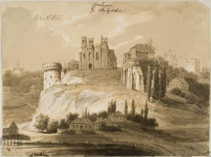 Замкова гора в Острозі. Малюнок Наполеона Орди, 1870-і роки
