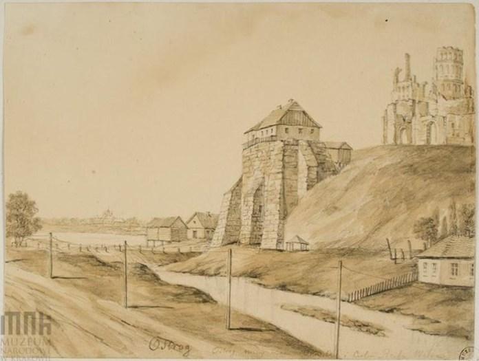 Фрагмент Замкової гори. Малюнок Наполеона Орди, 1870-і роки