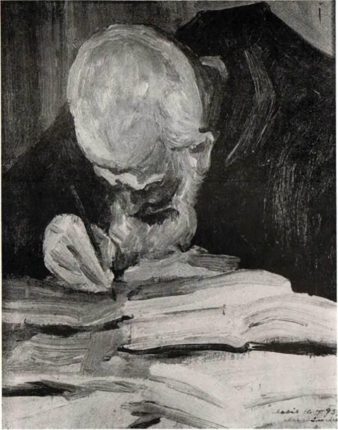 Михайло Мороз. Отець-ігумен Климентій Шептицький при праці, 1937 р.