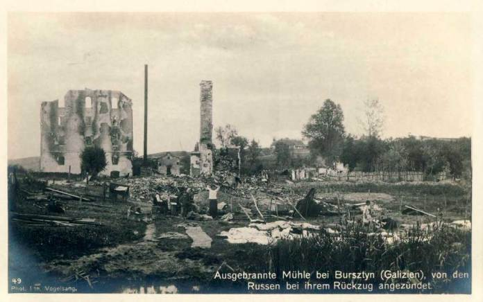 Млин поблизу Бурштина, спалений росіянами під час відступу. Фото 1915 р.