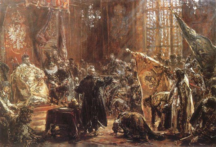 Полонений цар Василій Шуйський перед Зигмунтом ІІІ і Сенатом. Фото з: https://uk.wikipedia.org/