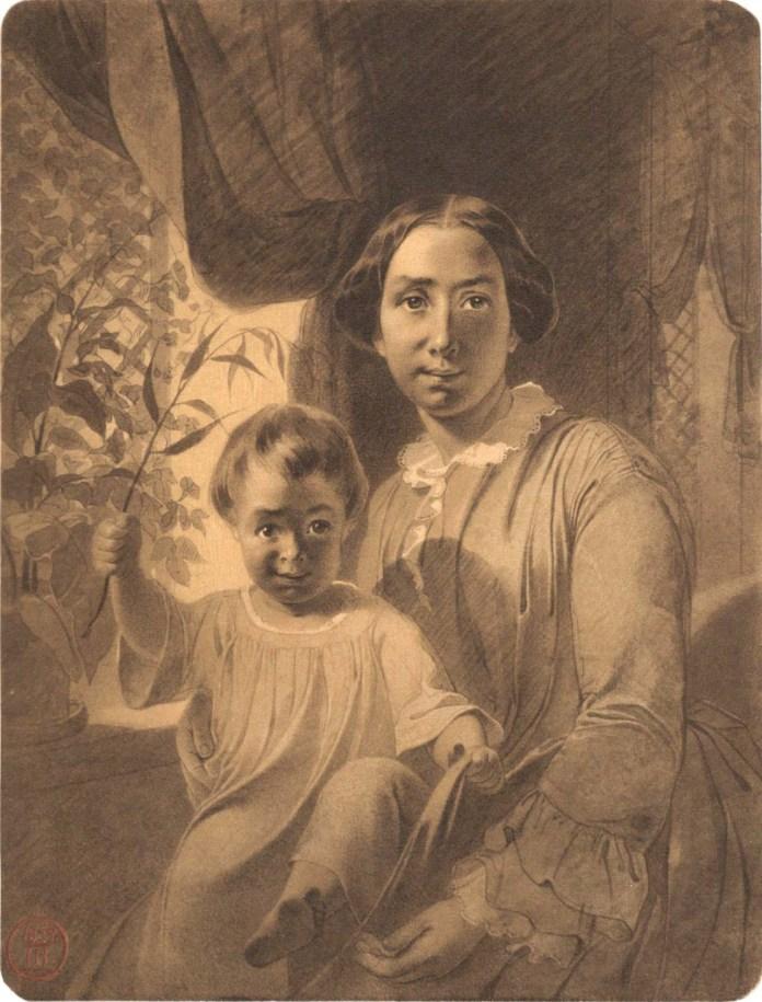 Тарас Шевченко. Портрет Агати Ускової з донькою Наталею, 1854. Папір, сепія.