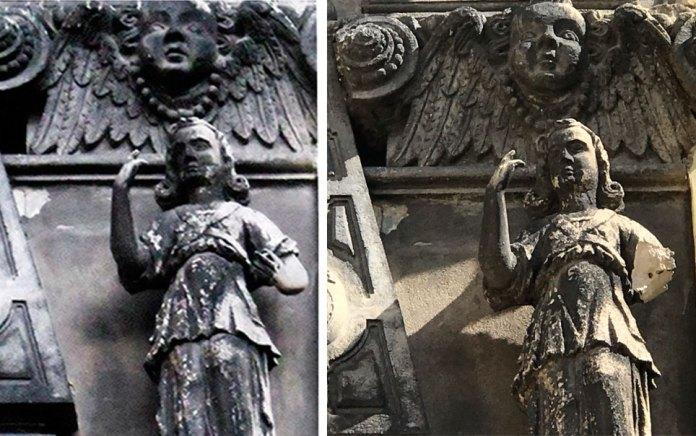 Скульптури на Каплиці Боїмів. Світлини 2013 і 2021 років