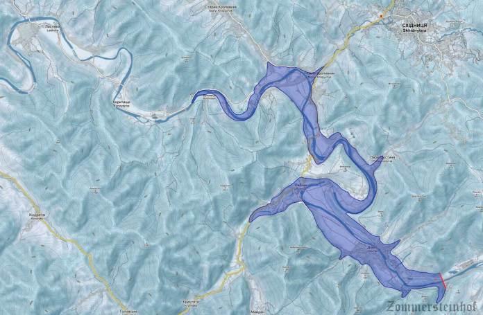 Карпатське море - зона затоплення.