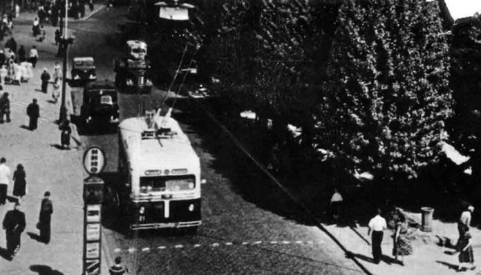 Тролейбус МТБ-82Д у Львові на проспекті Т. Шевченка. Фото 1955 року із колекції Володимира Румянцева